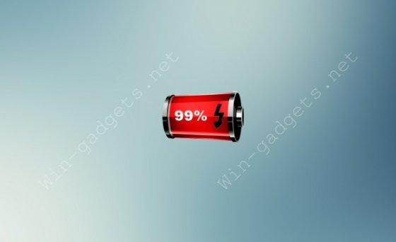Гаджет зарядки батареи Red Battery на рабочий стол.