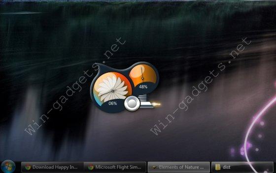 гаджет мониторинга за CPU и ОЗУ на рабочем столе.