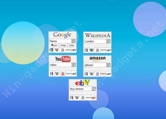 Гаджет поиска по Google, Yahoo, Youtube.