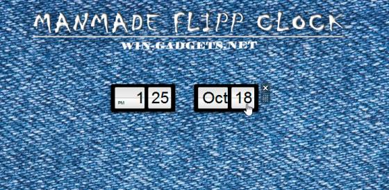 Гаджет Manmade Flipp Clock - перекидные черно-белые часы для Windows 7.